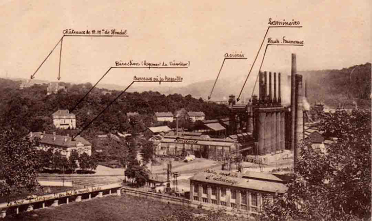 vue gnrale des chteaux vers 1914 - Chateau De Wendel Hayange Mariage